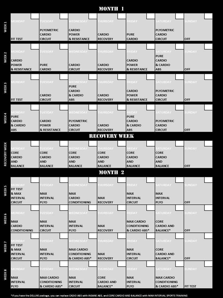 Insanity Workout Calendar - Trending Downward